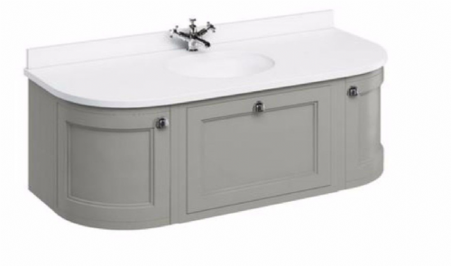 Burlington Wall Hung Olive 134 Curved Vanity Unit With Drawers & Doors Fw40 - Worktop Options